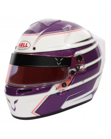 Pack casque karting Bell KC7 Lewis Hamilton violet/blanc